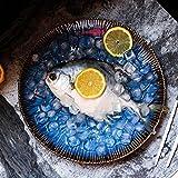 BaoKangShop Platos para microondas Placa de Filete Occidental Plato de Pasta de cerámica Plato de Ensalada de Ensalada de Fruta Europea casa Ojos de Gato (Color : Blue, Size : 8.5 Inches)