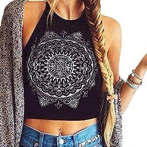 Womens Mandala Print ärmelloses Neckholder Tank Crop Tops Weste Bluse T-Shirt