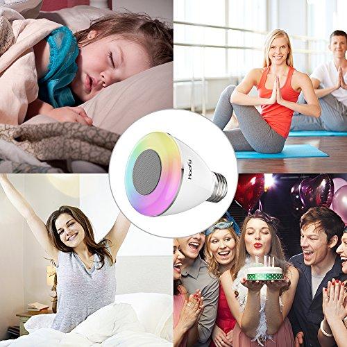 Bombilla de altavoz Bluetooth, Haofy 6W Bombilla de luz LED inteligente con audio estéreo inalámbrico RGB Bombilla de cambio de color LED Bombilla de música Bluetooth para bebé Mamita Fiesta de dormitorio (E26 / E27, Controlado por APP, 1 paquete)