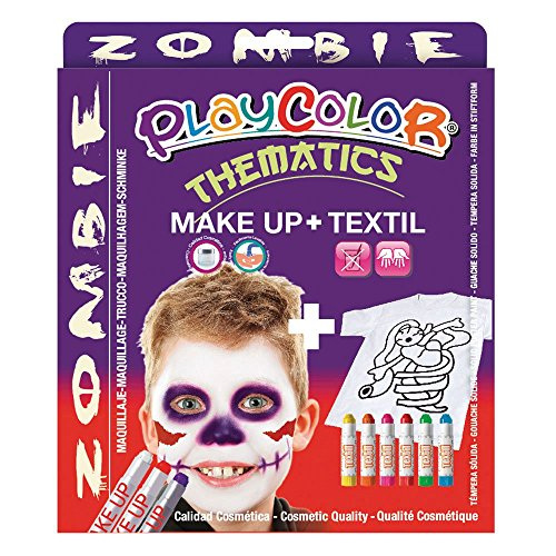 PlayColor Farbe 58041 5 g BASIC Make Up Tasche mit 10 g Textil One Zombie Set Face Paint (Zombie Make Basic Up)
