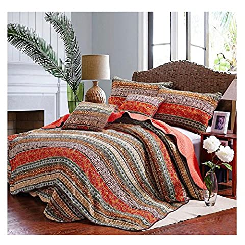 Best Striped Classical Cotton Patchwork Quilted Bedspread Set Printed Vintage Collection Handmade Bedding Quilt Sham Set, 3pcs Super King