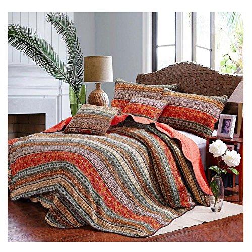 Beddingleer Tagesdecke Patchwork Baumwolle Bettüberwurf gesteppt 175 x 220 cm Single Sofa Couch Kinder Überwurf Winter Decke Rot im Romantische Stil