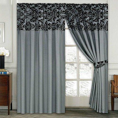 LUXURY Damask Curtains Pair Of Half Flock Pencil Pleat Window Curtain Fusion(TM) (90×90, grey)