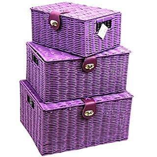 Arpan Set of 3 Resin Woven Storage Basket Box With Lid & Lock (Purple)