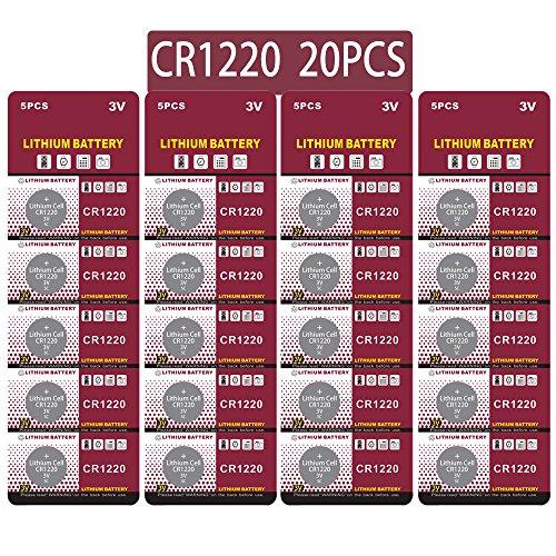 CR1220 Lithium 3V Batterie, Bouton de Pile Bouton électronique pour Jouets Calculatrices Montres (20 Pcs)