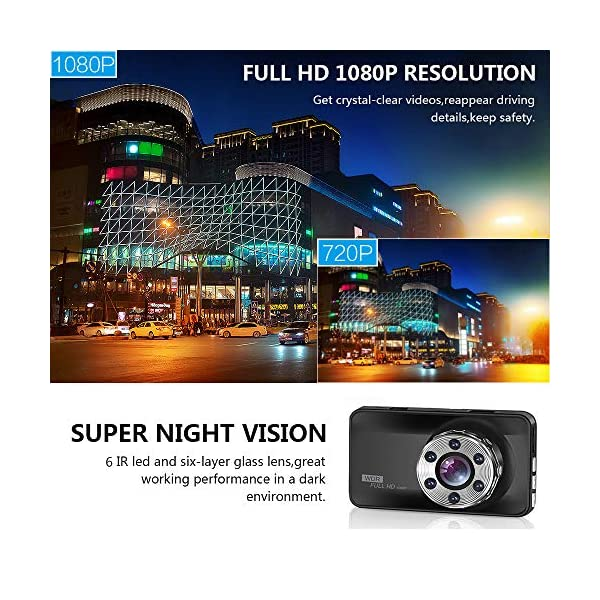 ORSKEY Dash Cam Front and Rear 1080P Full HD Dual Dash Camera In Car Camera Dashboard Camera Dashcam for Cars 170 Wide…