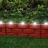 Parkland® Instant, Begrenzung der Rasenkante mit LED Solarleuchten und Ziegelstein-Effekt, Pflanzen-Bordüre,einfach mit einem Hammer einschlagen
