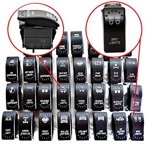 Symbol Kippschalter Wippschalter Schalter Auto Boot KFZ LKW Licht 12V 24V (Hintere Arbeitsbeleuchtung - LED Work Lights JJ36) 24 Led Work Light