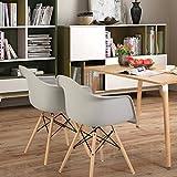 Lot von 4 Esszimmerstuhl, EGGREE Retro Stuhl Beistelltisch mit solide Buchenholz Bein - Grau - 7