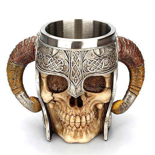 Arola Edelstahl Doppelgriff Horn Totenkopf Bier Tassen,Wikinger Ram Gehörnten Krieger Schädel Becher, Mittelalterliche Schädel Drinkware Becher zum Kaffee/Getränke / Saft 17oz.