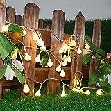 OOFAY& Solar Lichterkette Außen Mit 30 LED Kugel Mehrfarbig 6M Solar Lichterkette Dekoration Beleuchtung Für Garten, Terrasse, Hof, Haus, Party SZ30LEDXBQ,Yellow