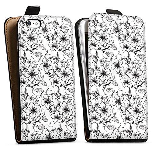 Apple iPhone X Silikon Hülle Case Schutzhülle Blumen Vintage Muster Downflip Tasche schwarz