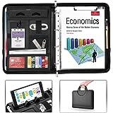 AtailorBird Carpeta Portadocumentos Maletín Plegable Calculadora Organizador Portafolio Cuero de PU con Corchete para Negocio