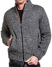 BLZ jeans - Gilet zippé homme côtelé et fourré gris chiné