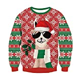 RAISEVERN 3D Jumper Snowflake Deer con Estampado Fairisle Sweater Ugly Christmas Tops de Manga Larga para Hombres, Mujeres, Jerseys, Rojo