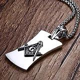 VAWAA Mens Masonic Mason Símbolo Brújula Perro Etiqueta Colgante Collar para Hombre De Moda Vintage Acero Inoxidable