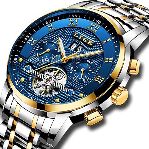 Herren Uhren,Automatische Mechanische Edelstahl Wasserdichte Armbanduhr Herren LIGE Luxusmarke Datum Skeleton Tourbillon Uhr, Gold Blau - Pulver-liege