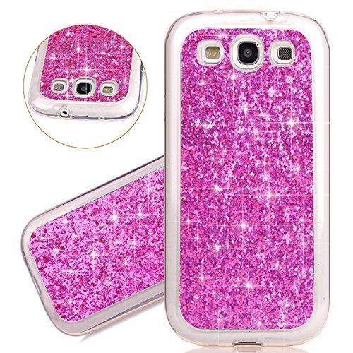 Coque Galaxy S3 I9300, Étui pour Samsung Galaxy S3, ISAKEN Étui Housse Téléphone Étui TPU Silicone Ultra Mince Gel Arrière Case Antichoc Doux Durable Résistant Aux Rayures Bling Glitter Absorption Hou rose rouge B