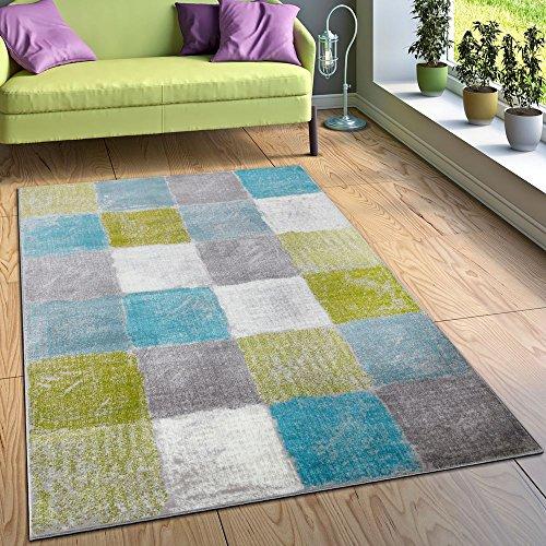 Paco Home Designer Teppich Wohnzimmer Ausgefallene Farbkombination Karo Türkis Grün Grau, Grösse:120x170 cm