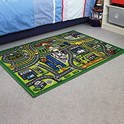 JVL Childrens 80 x 110 cm Map Nursery Playroom Kids Play Road Mat