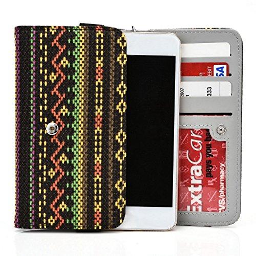 Kroo Téléphone portable Dragonne de transport étui avec porte-cartes pour Asus ZenFone 2ze500cl Multicolore - vert Multicolore - jaune