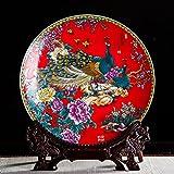 Yqooo en céramique Ornements Décorations à suspendre plaque Crafts Salon Vin Armoire Décoration en porcelaine Assiette Rouge riche 36cm