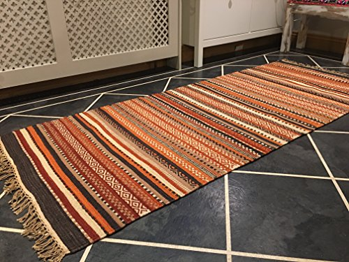Shillong Geometrische Streifen Wolle Kelim Teppich (Fair Trade) 70cm x 180cm (Streifen Wolle, Feine)
