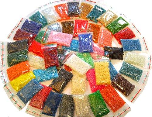 Perlin - Rocailles Perlen Set 2mm 50 Farben GLASPERLEN 11/0 34000stk POSTEN Seed Beads AM49 2/0 Gold Mix