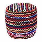 Homescapes - Pouf rond tissé Chindi multicolore - 45 cm - Folk