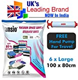 #7: Vacuum Compressed Space Saver Storage Bags set of 6 Large(100x80CM) - Extra Strong Double-Zip Seal and Triple Seal Turbo Valve for Ultra Compression | Ideal for Clothes, Duvets, Bedding, Pillows, Curtains and Travelling | Screw Type Pump for Travel Included
