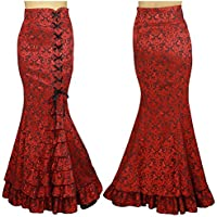 7efdd0d10feab6 Chic Star Gothic High Waisted Jacquard Fishtail Ruffles Skirt Red Standard  to Plus Size UK 8