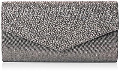 SwankySwans Women's Montary Glitter Diamante Envelope Clutch Bag Clutch
