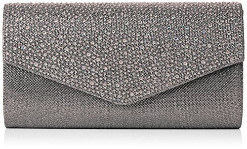 (Swankyswans Damen Montary Glitter Diamante Envelope Clutch Bag Tasche, Grau, One Size)