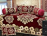 #6: Ab Home Decor maroon chenille diwan set of 8 pieces