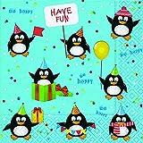 20 Servietten Pinguine Geburtstag Kinder Winter Schnee Weihnachten 33x33 cm