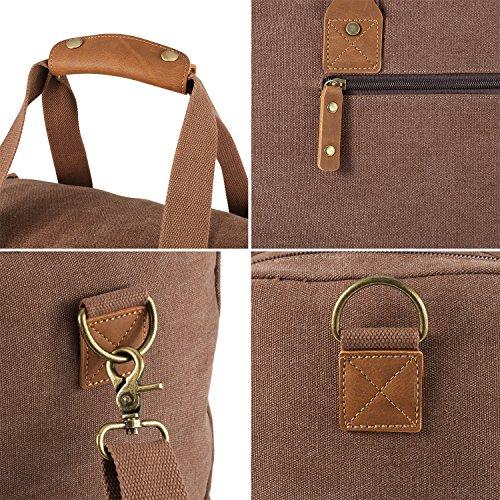 Plambag 50L Canvas Gepäck Duffel Bag Weekender Handtasche Schultertasche Reisetasche Kaffee Kaffee