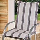 Almohadilla para silla con respaldo alto silla asiento Jardín Gris Beige Rayas