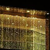 Dealbeta 3M x 3M 300LED Wasserdicht Lichtervorhang Led Lichterkette Mit 8 Modi Weihnachtsbeleuchtung Mit EU Plug Gut für Weinachten, Hochzeit, Restaurants, Festivals [Energieklasse A] (Warmweiß)