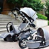 LZTET Kinderwagen 3 In 1 Hoch Landschaft Zweiwege Schock Kinderwagen Tragbare Faltbare Kinderwagen Reisesystem Geeignet Alter 0-3 Jahre,Grey