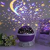 FONKIC Baby Nachtlicht Mond Sterne Projektor Schreibtischlampe USB Rechargable Kreatives Geschenk,Purple-Sky
