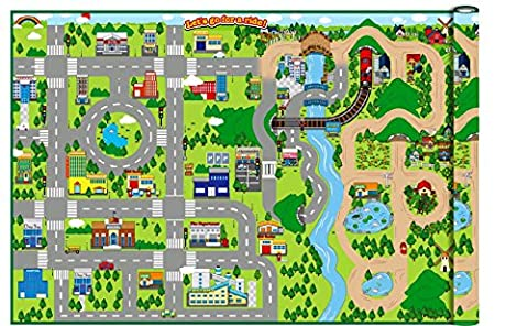 WIPE CLEAN - Giant 172cm x 120cm Kids City Cars Playmat EVA foam Mat (Indoor or Outdoor) by