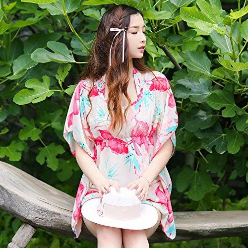 ZHANGYONG*La ragazza di acciaio stampato e di grandi particelle di petto piccola bra shirt bikini 3 pezzo ,L, rosso