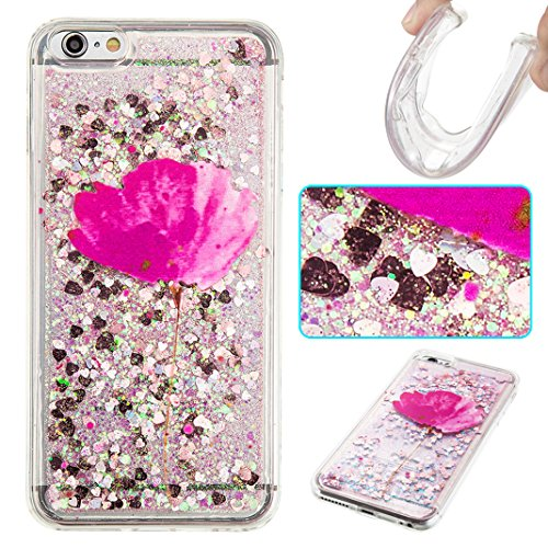 Housse iPhone 6 PLUS OuDu Étui en Glitter Silicone [Housse de Flottant] Coque Transparente Flexible Mince **NEW** Housse Sable Mouvant Bling Étui TPU de Haute Qualité Housse Souple de Protection Coque Fleur Rose