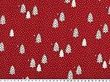 Baumwoll-Weihnachtsstoff, Tannenbäume, rot-weiß, 140cm