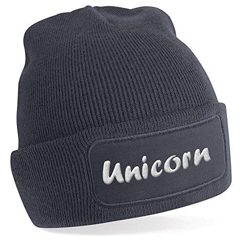 Unicorn, Motiv auf Beanie Mütze - warme Wintermütze - modisches Accessoire - Unisex - für Mann und Frau - classic - Vielzahl an Motiven und Designs / Black