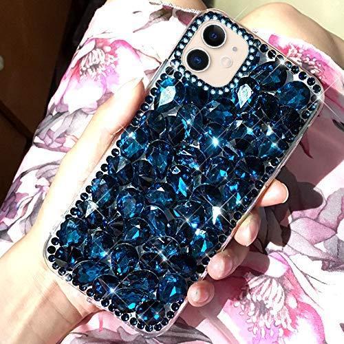 Uposao Kompatibel mit iPhone 11 Handyhülle 3D Handschlaufe Luxus Glänzend Kristall Strass Diamant Silikon Handytasche Mädchen Ultra Dünn Tasche Weich Crystal Hülle Etui,Blau