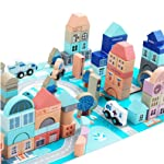 Wooden Building Blocks Set-113 Pieces for Children City Construction and Shapes Montessori Stacking Toy with Play Mat Puzzle