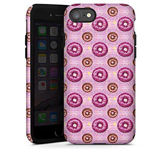 Apple iPhone X Silikon Hülle Case Schutzhülle Donut Party Pink Braun Tough Case glänzend