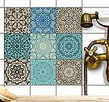 creatisto Fliesenaufkleber Fliesenfolie u. Mosaikfliesen | Fliesen-Sticker Folie Aufkleber für Badezimmer Deko - Folie für Badezimmer-Gestaltung | 15x15 cm - Motiv Marokkanisch - 36 Stück