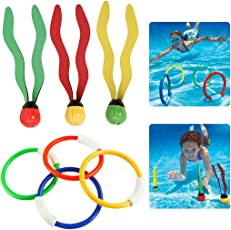 4PCS Diving Rings Funny Assorted Colors Diving Toys Pool Toys with 3PCS Seaweed Toys
